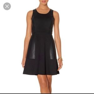 The Limited Leather Fit & Flare Dress